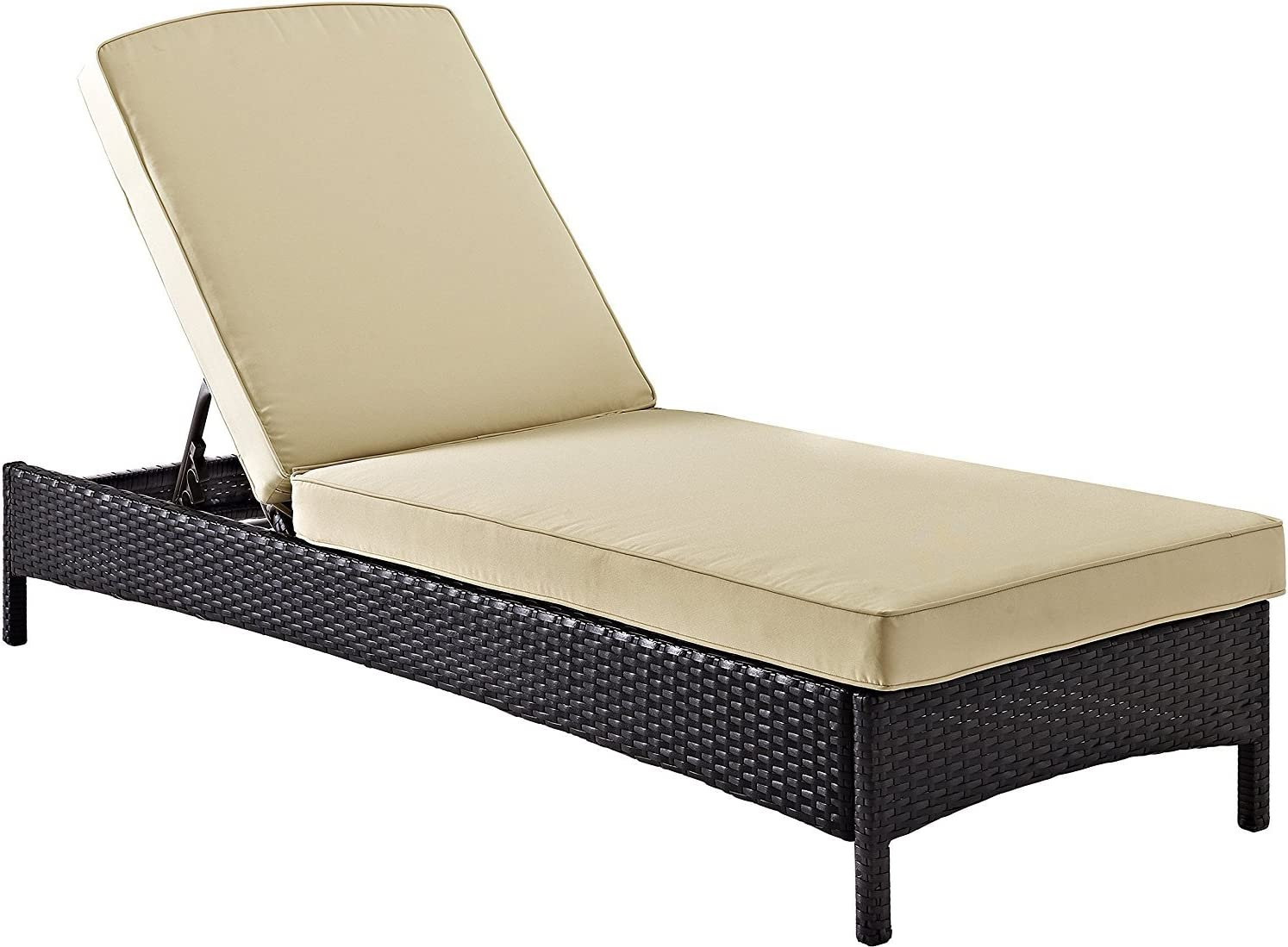 Crosley Furniture Palm Harbor Outdoor Wicker Chaise Lounge with Tan Cushions - Brown