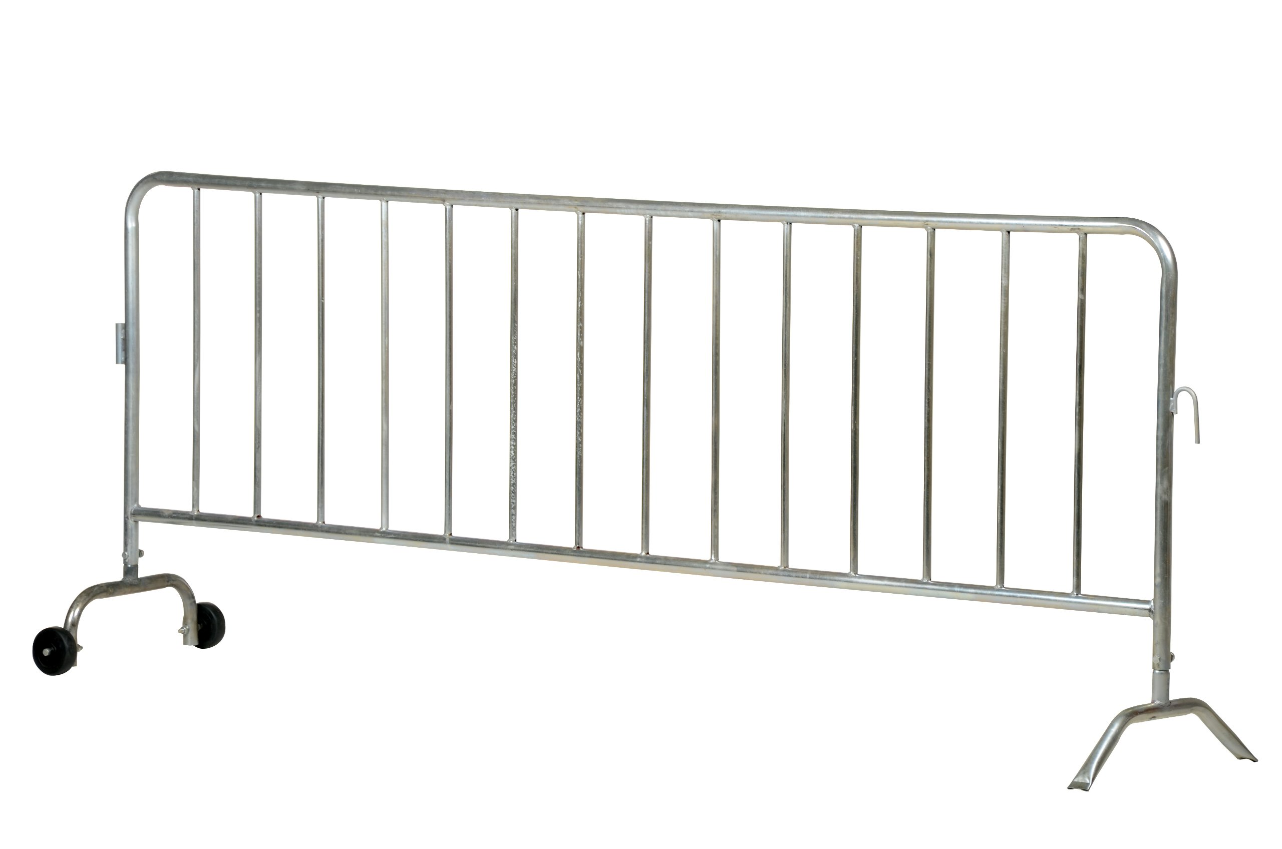 Vestil PRAIL-102-G-W Steel Crowd Control Interlocking Barrier with 1 Wheel and 1 Curved Foot, Light Weight, 5/8'', Rail Diameter (L x W x H) 102'' x 20'' x 42'', Zinc Plated by Vestil
