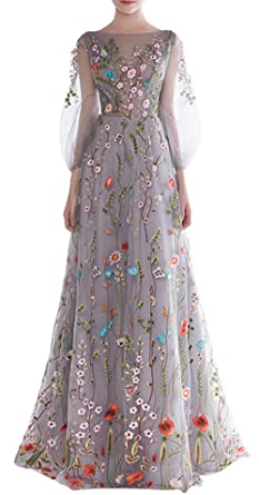 Amazon ethel womens zipper back floral embroidery long ethel womens zipper back floral embroidery long sleeves evening dresses grey ccuart Images