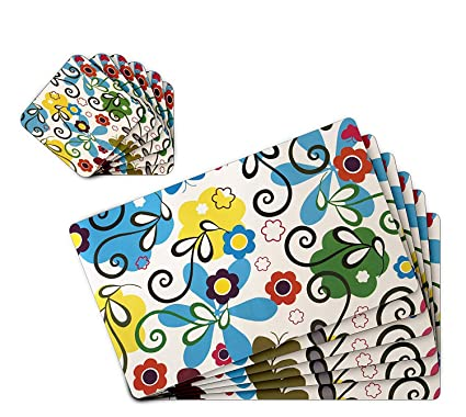TIED RIBBONS Table Mats 6 Piece with Coasters (42 X 28 cm,PVC,Multicolour)