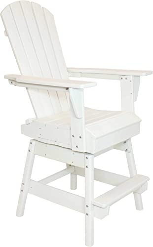 Sunnydaze All-Weather White Outdoor Balcony Adirondack Swivel Chair – Tall Heavy Duty HDPE Weatherproof Chair – Ideal for Yard, Garden or Balcony