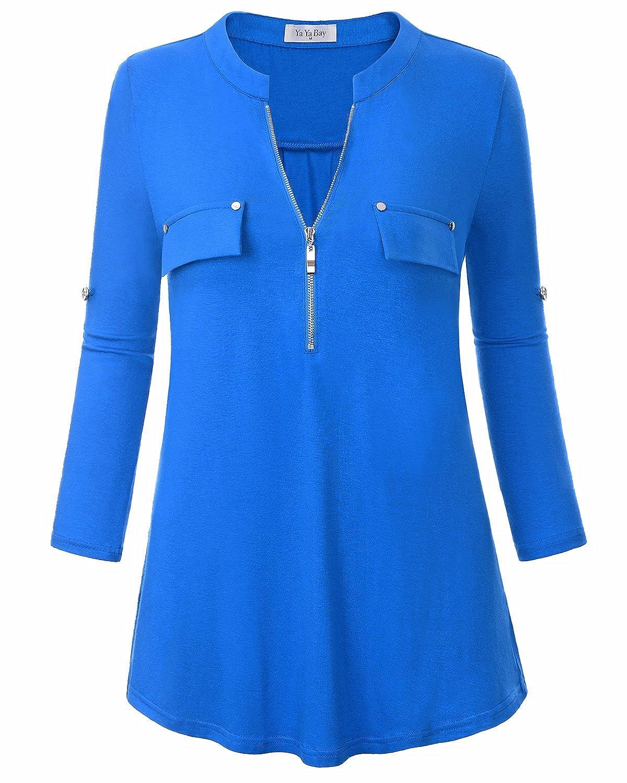 0f4275b6bf1 Top4  YaYa Bay Spring Women s Notch-V Neck Short Sleeve 3 4 Roll-up Sleeve  Zip Up Casual Shirt Blouse Tops