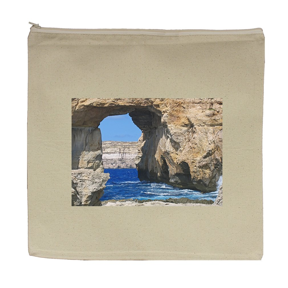 Canvas Zipper Pouch Tote Bag 5.5''X7.5'' Azure Window Gozo Malta Style In Print