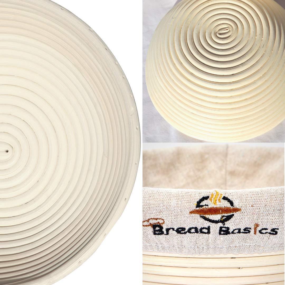 BreadBasics Banneton Proofing Basket   Premium Homemade Bread Starter Kit for Beginners   Includes Step by Step eBook, Bowl Scraper & Whisk, Lame, Brotform Liner, Cleaning Brush   Sourdough Supplies by BreadBasics (Image #2)