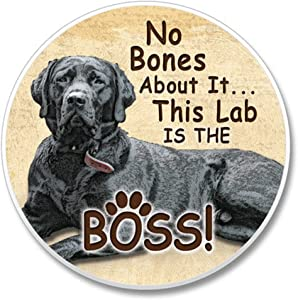 No Bones About It. This Black Lab is the Boss! Single Ceramic Car Coaster