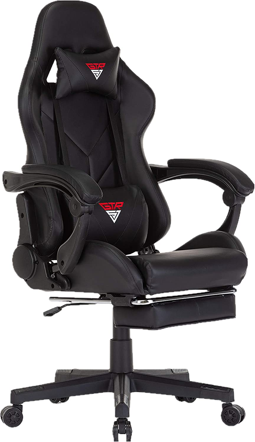 Gaming Chair Computer Office Chair Adjustable Lumbar Cushion Swivel Rocker Recliner Leather High Back Ergonomic Computer Desk Chair with Arms and Retractable Footrest (Carbon)