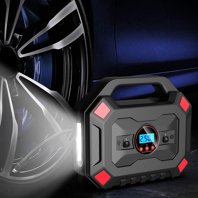 AOKBON Compressore Aria Portatile Auto Compressore per Auto Pompa 120PSI 12V compressore dAria Elettrico con Schermo a LED e Luce LED Adatto per Auto Biciclette motocicli e Palline
