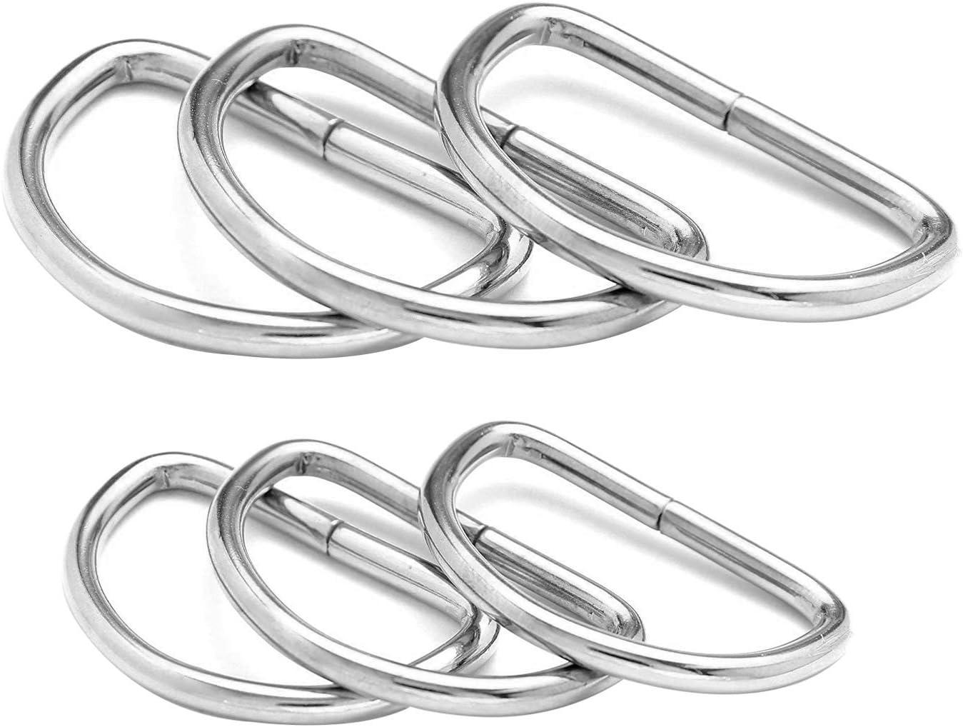 Hebilla de metal en D sin soldadura para correas de sujeción ajustable, artes y manualidades, collares para mascotas, bolsas de reparación, 20 mm y 25 mm