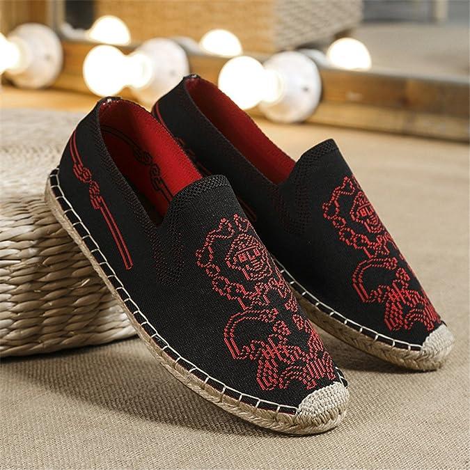 MSKAY Espadrilles für Herren,Chinesischer Stil ohne Verschluss Leinwand Schuhe Komfort Atmungsaktiv Hand Nähen Leinensohle Lässige Schuhe, Khaki, 35