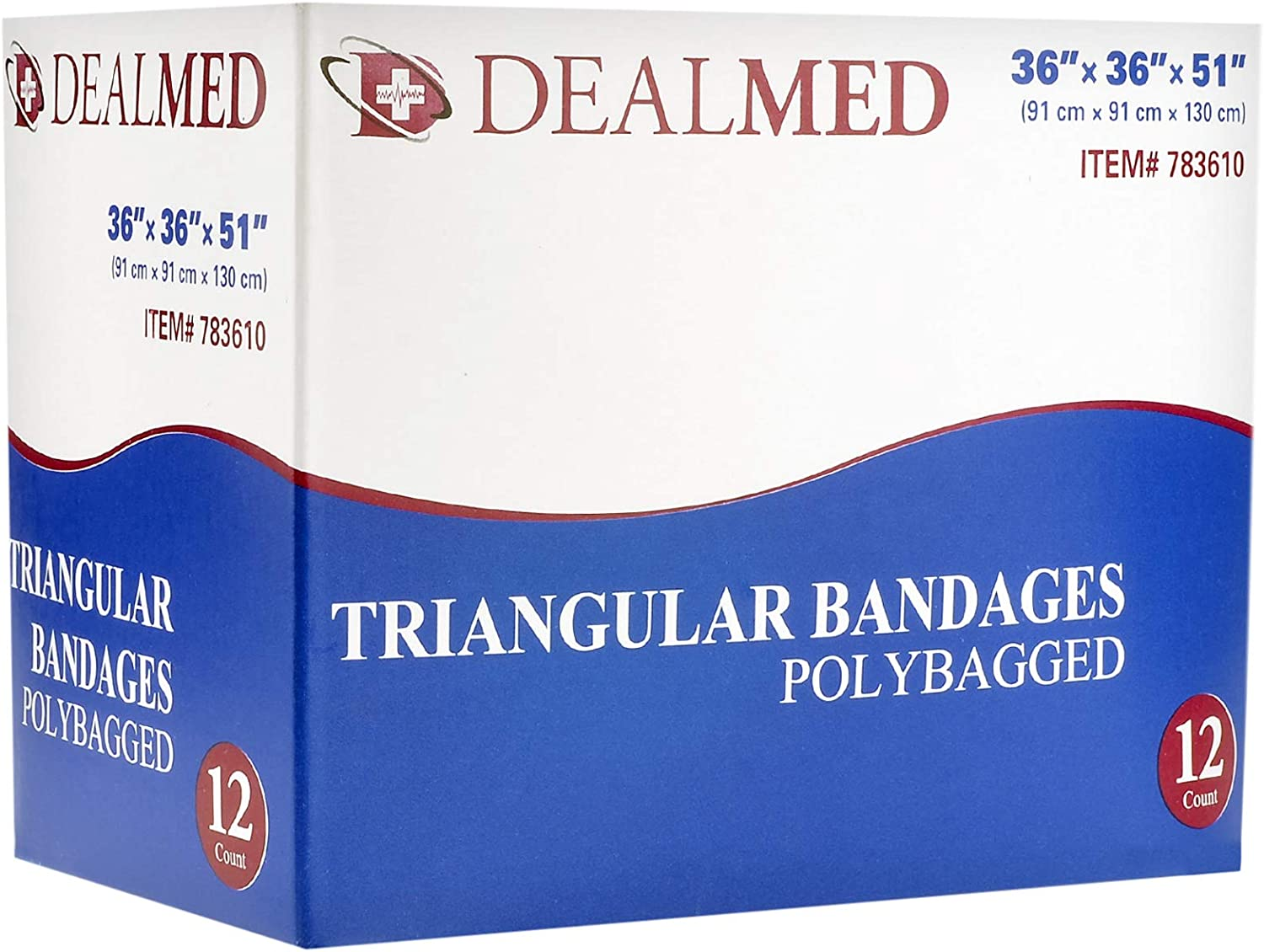 36 x 36 x 51 12 Count Dealmed Latex-Free Triangular Bandages with 2 Safety Pins