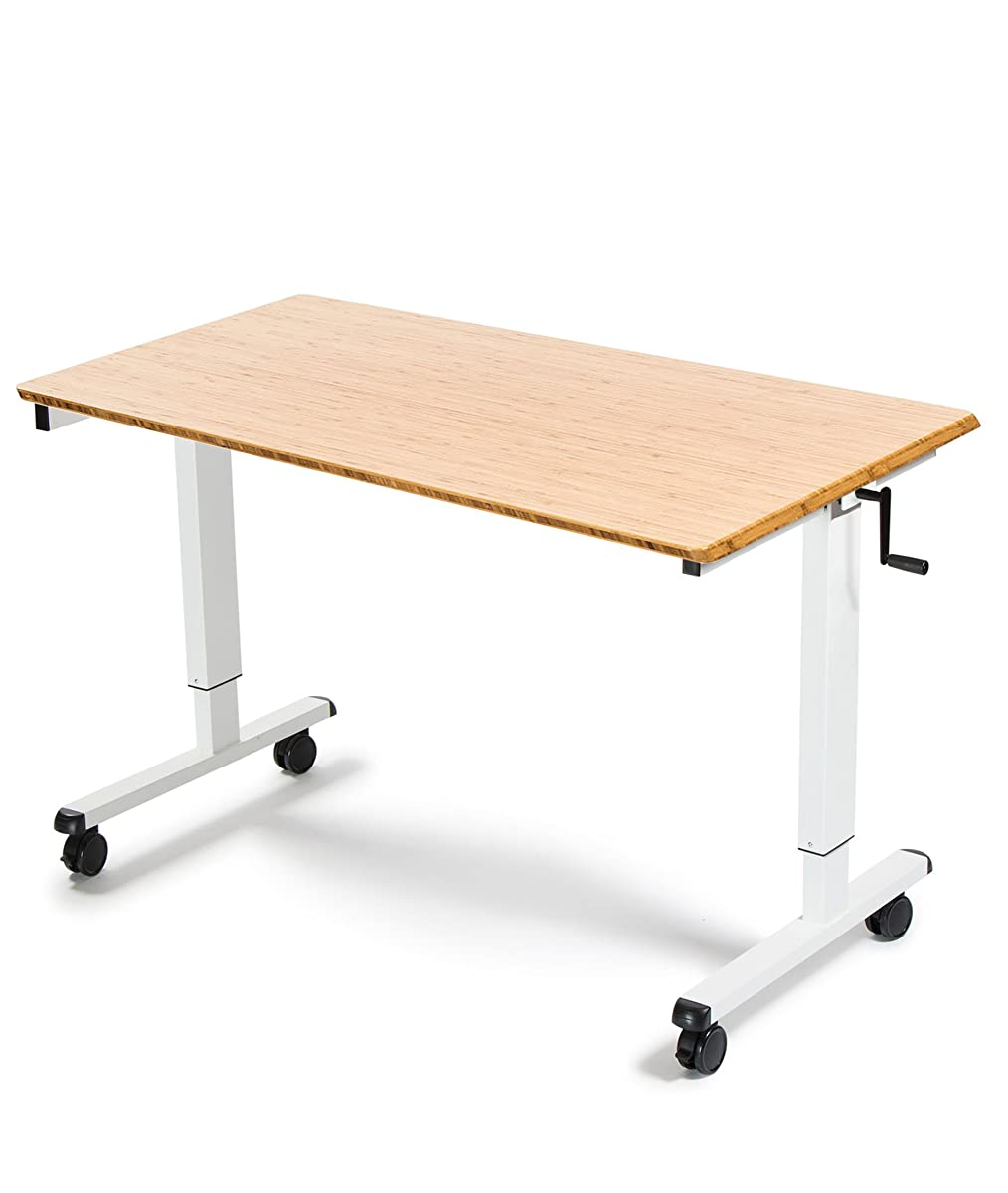 "48"" Crank Adjustable Height Standing Desk (White Frame / Bamboo Top)"