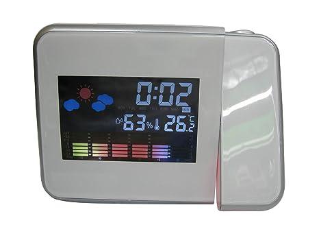 Happy FD LED Projection Reloj LCD Digital Weather Snooze Alarm Clock Color Display Blanco: Amazon.es: Relojes