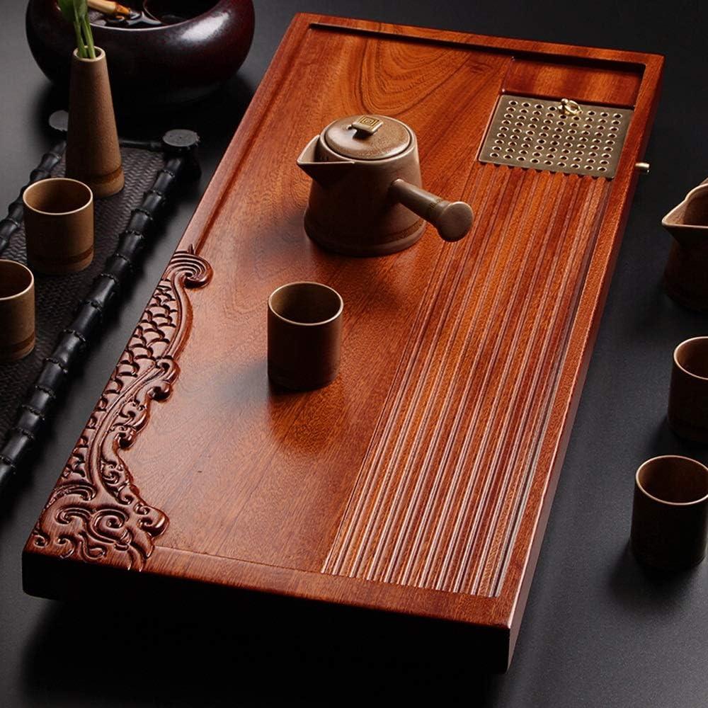 ティートレイ ソリッドウッドティー日本、中国GongFuティートレイプレートをサービングトレイティーにご利用いただけます ギフトオフィスの家庭用 (色 : Natural, Size : 52x24cm)