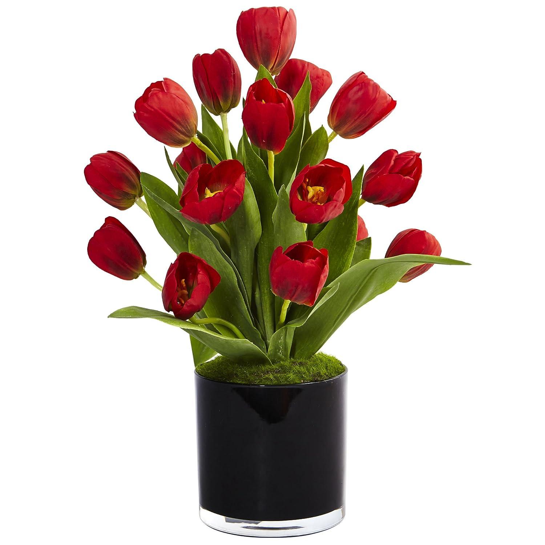 ほぼ天然シルクチューリップArrangement in Cylinder花瓶、レッド B073V8VK12