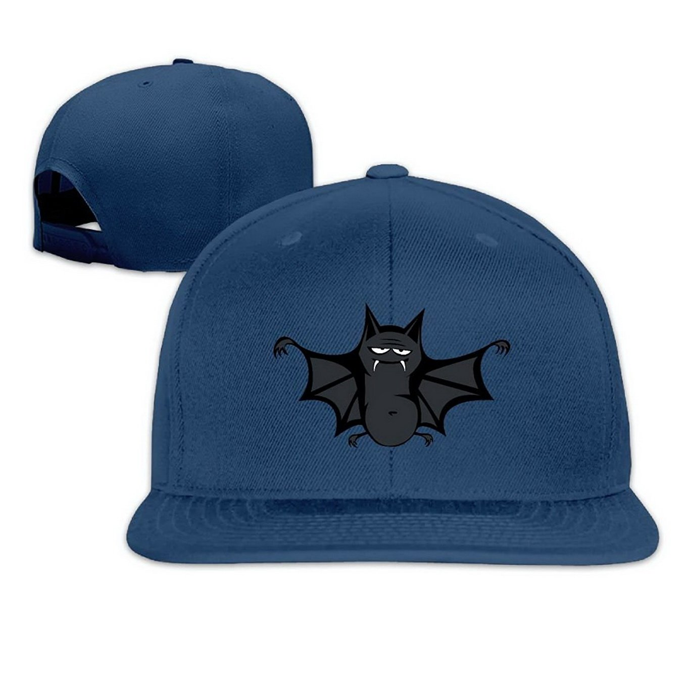 Unoopler Cute Funny Bat Snapback Hip Hop Flat Bill Baseball Caps for Men Women Navy