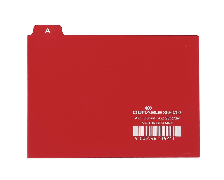 Durable 424511 f.to A4 Cavalierini Termosaldati Confezione da 25 pezzi Divisore Alfabetico in Cartoncino per Schedario Etichette Prestampate Marrone