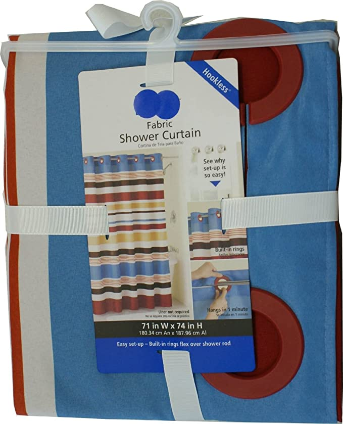 Amazon.com: Hookless Fabric Shower Curtain - Century Stripe: Home ...