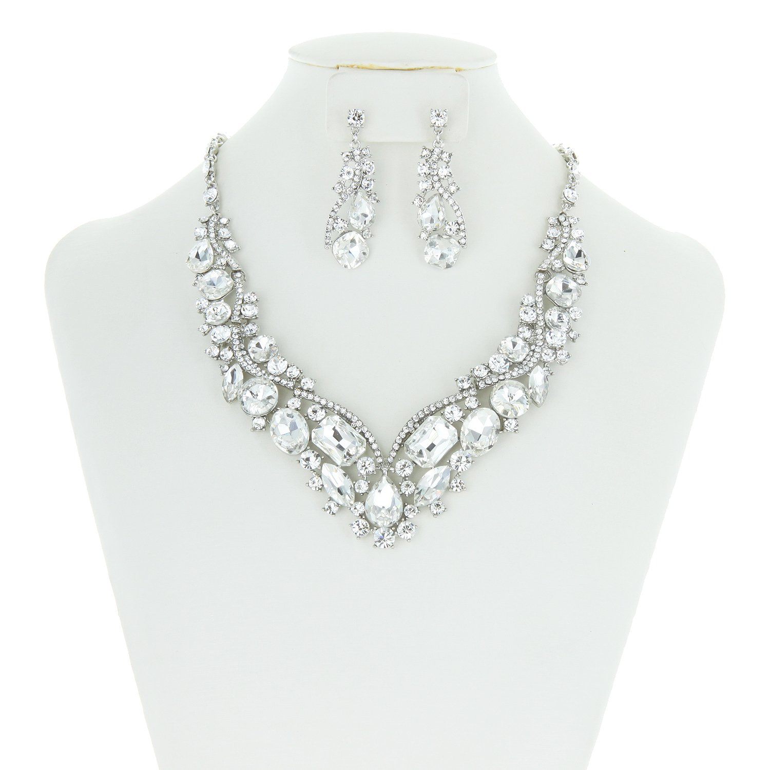 SP Sophia Collection Women's Wedding Bridal Austrian Crystal Necklace and Earrings Jewelry Set in Silver