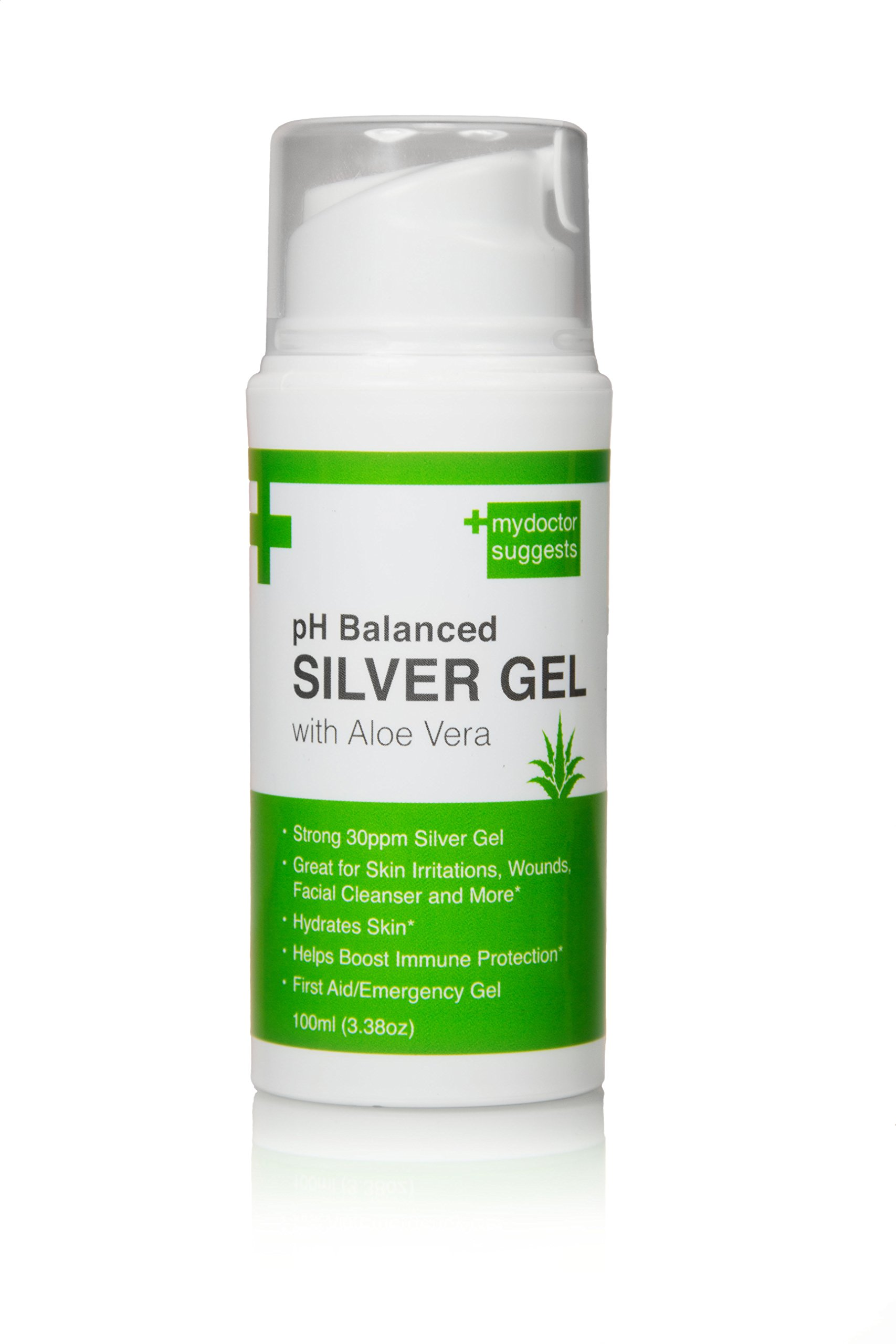 First Aid Silver Gel: pH Balanced Silver Gel with Aloe Vera - Strong 30ppm Silver Gel in a 3.38oz Easy Pump Container: Use for Cuts, Scrapes, Burns, Wound Care and More (1)