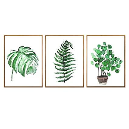 Hepix Green Leaves Wall Art Tropical Plants Canvas Wall Paintings Simple Botanical Print Framed Wall Pictures For Bedroom Bathroom Living Room Modern
