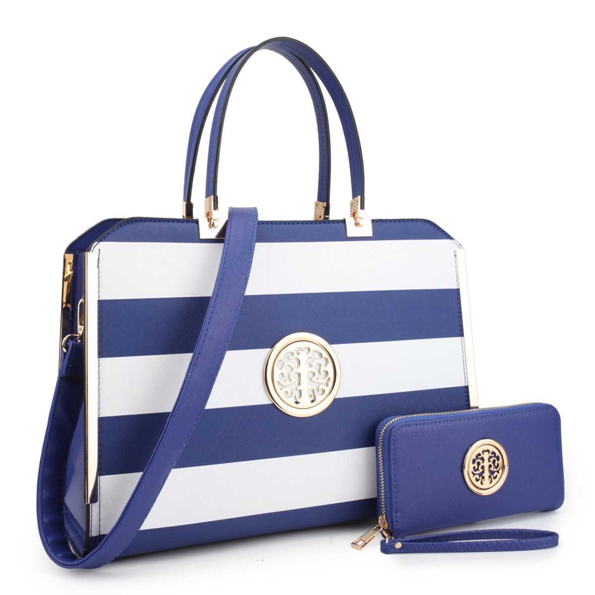 "Women Large Designer Handbags Satchel Purses Structured Briefcase Shoulder Bags Work Bags for 13"" Laptop Tablet KC-XL-18-7555-W-BKF-NEW"