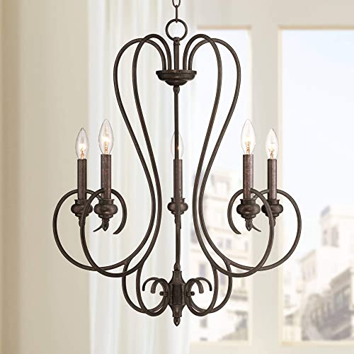Channing Bronze Chandelier 24 1 2 Wide Rustic Curved Scroll 5-Light Fixture for Dining Room House Foyer Kitchen Island Entryway Bedroom Living Room – Franklin Iron Works