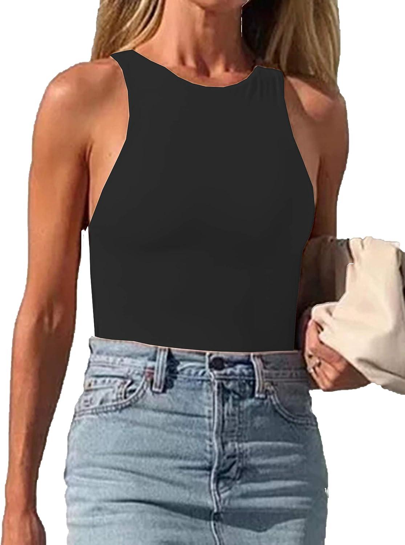 MISSACTIVER Women Sexy Solid Elastic Tank Top Crew Neck Sleeveless Bodysuit Tops