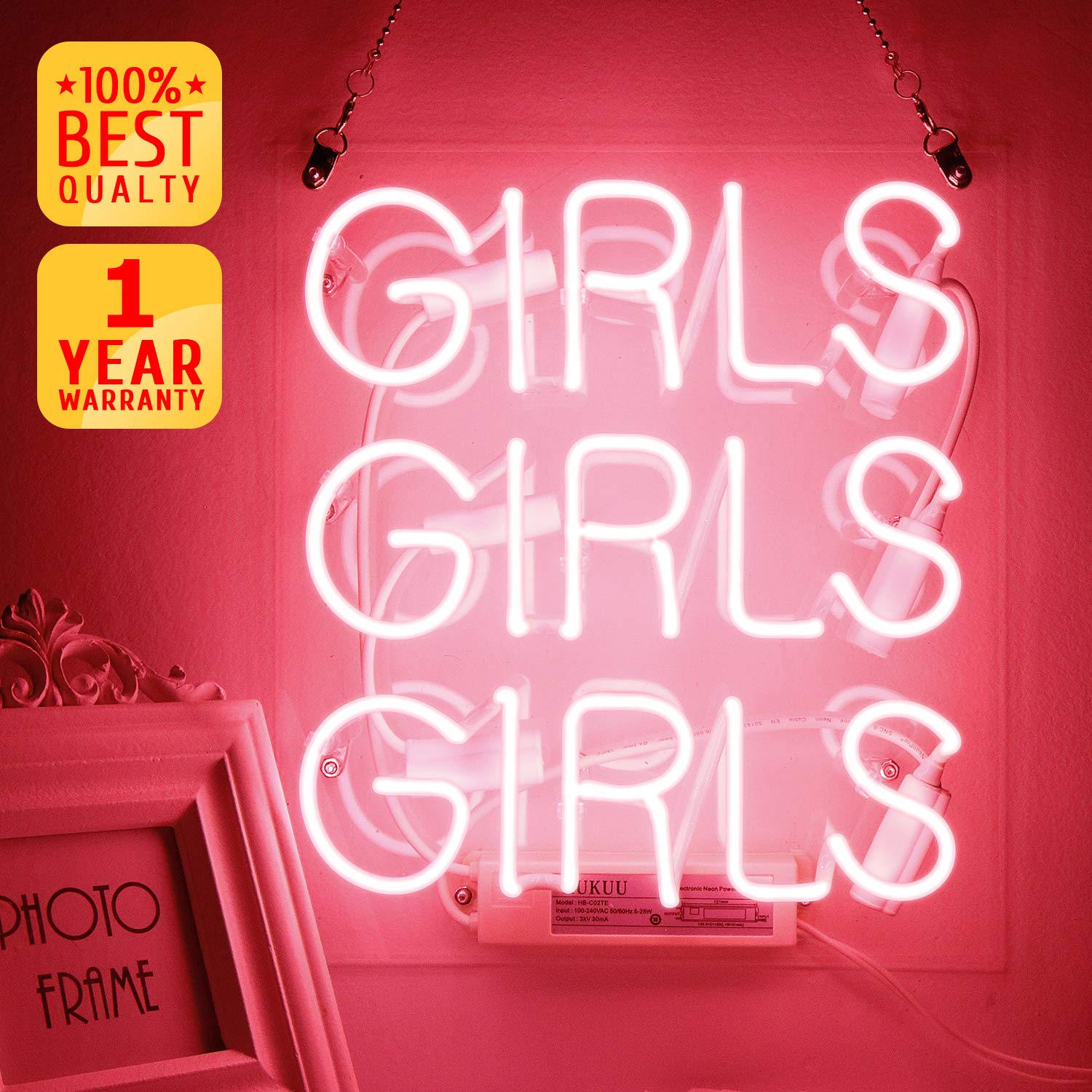 Neon Signs, Neon Light Sign Led Neon Lamp, Wall Sign Art Decorative Signs Lights, Neon Words for Home Bedroom Room Decor Bar Beer Office for Party Holiday Wedding Decoration Sign - (Pink Girls)