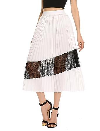022ffc7765 Zeagoo Women's Chiffon Maxi Skirt Lace High Waist Pleated A-line ...