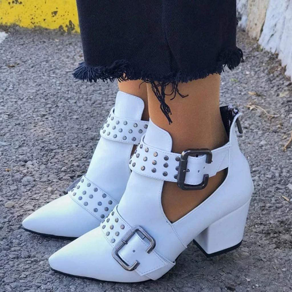 Booties Women Ankle Boots Vintage Rome Pointed Toe Casual Shoes Comfortable Slouchy Buckle Boots Miuye yuren