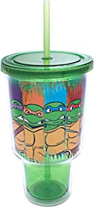 Silver Buffalo NT2617 Nickelodeon TMNT Character Swipe Jumbo Cold Cup with Lid and Straw, 32 oz, Multicolor