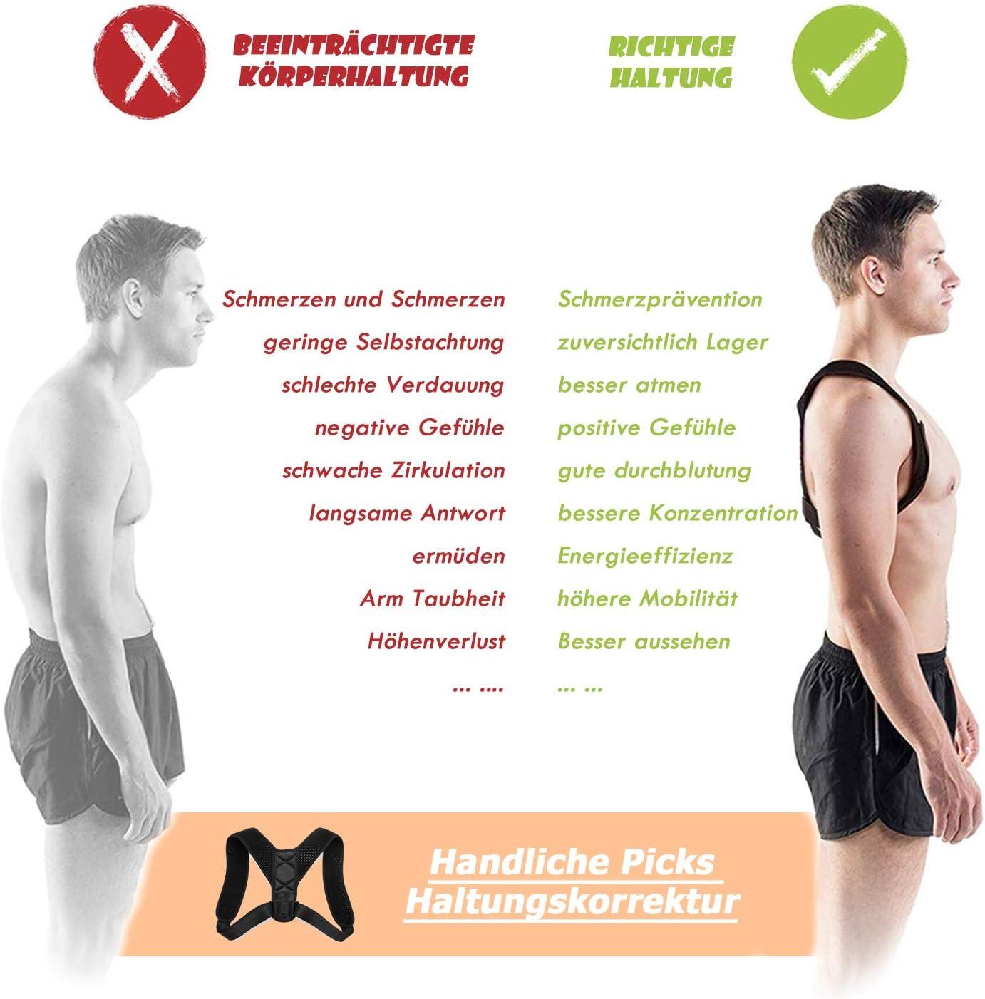 QUNPON Haltungskorrektur f/ür M/änner und Frauen verstellbare obere R/ückenst/ütze zur Unterst/ützung des Schl/üsselbeins und zur Schmerzlinderung von Nacken R/ücken und Schulter