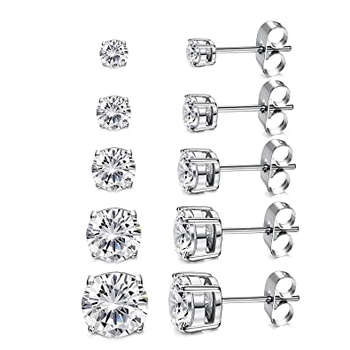 b2fcd3671721a Women's 18K Gold Plated CZ Stud Earrings Simulated Diamond Round Cubic  Zirconia Ear Stud Set(5 Pairs)