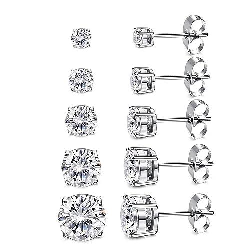 c64bb3220 Women's 18K Gold Plated CZ Stud Earrings Simulated Diamond Round Cubic  Zirconia Ear Stud Set(