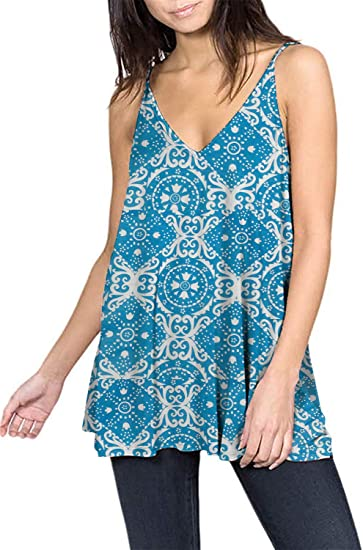 Womens Double V-Neck Printed Adjustable Spaghetti Strap Tank Tops Loose Casual Cami Vest