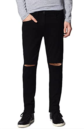 ddcf2c58a67 Damler Men's Slim Fit Knee Cut Distressed Slit Ripped Black Jeans 664 28