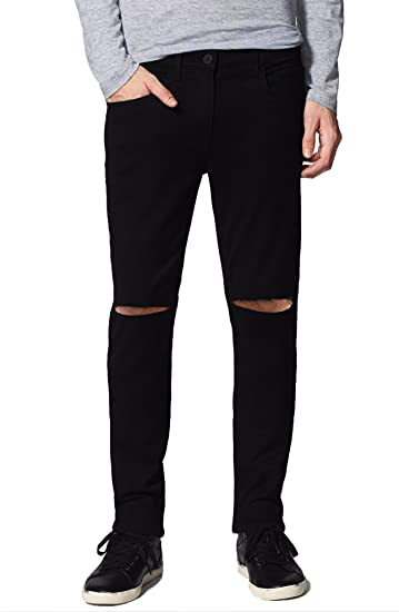 latest collection new style of 2019 shop for original Damler Men's Slim Fit Knee Cut Distressed Slit Ripped Black Jeans 664