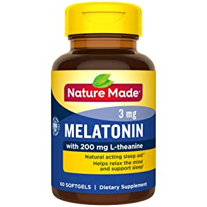 Nature Made Melatonin 3 mg with 200 mg L-theanine Softgels, 60 Count for Supporting Restful Sleep† (Packaging May Vary)