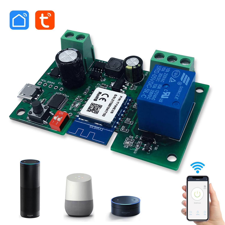 Eachen MóDulo Relé Inteligente InaláMbrico 1 Canal Para Smart Home Remote Control Dc 5V/12V, Se Aplica Al Control De Acceso, Encender Pc, Puerta De Garaje, Funciona Con Tuya/Smart Life App