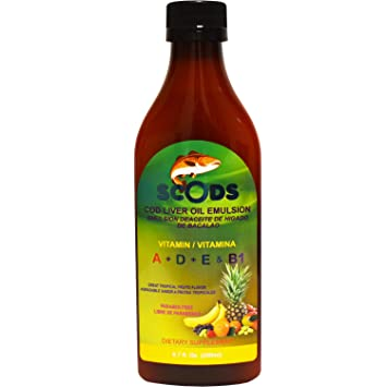Emulsion de Scods Frutas Tropicales Cod Liver Oil Emulsion Tropical Fruits 200ml Vitamin A + D
