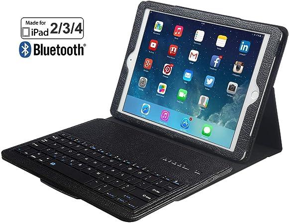 eoso - Funda con Teclado para iPad 3 y 4 (Piel sintética, con Teclado extraíble), Color Negro
