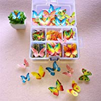 100 stuks eetbare Taarttoppers, vlinder/bloem vorm taart bakken decoratie kleverige eetbare rijstpapier wafel papier…