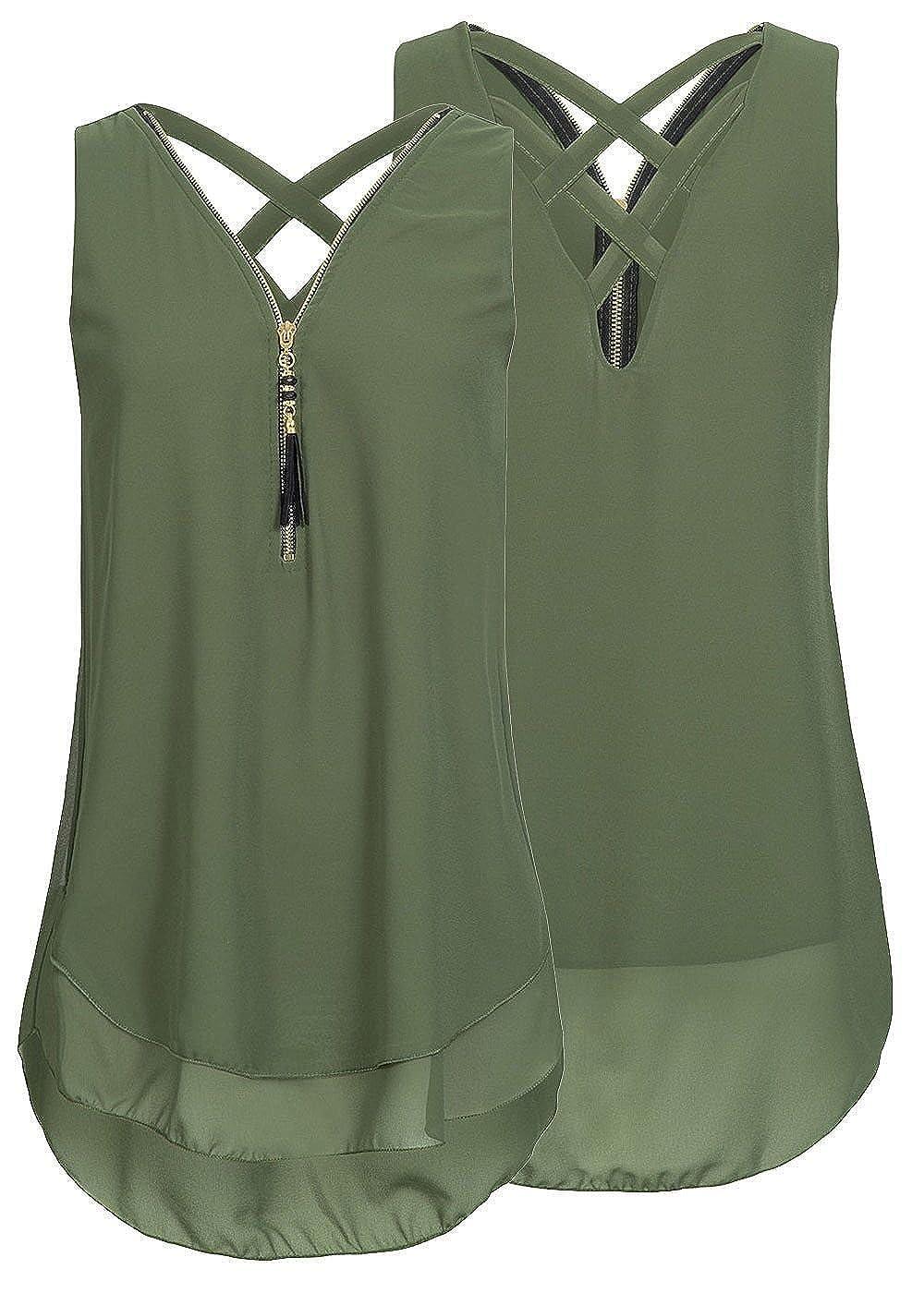 Yknktstc Womens Sleeveless Tank Top Chiffon Double Layers Casual Blouse Tunic Top T Shirt