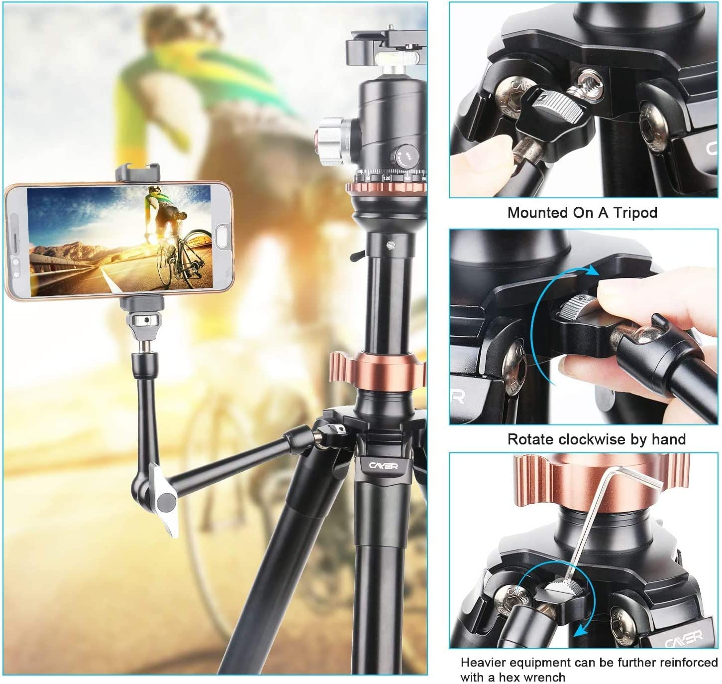 Cayer 11 inches Adjustable Articulating Friction Magic Arm Holder Mounts Kit with Super Clamp for Mirrorless Cameras LED Light Field Monitor Video Vlog Rig etc Flash Light Smartphone