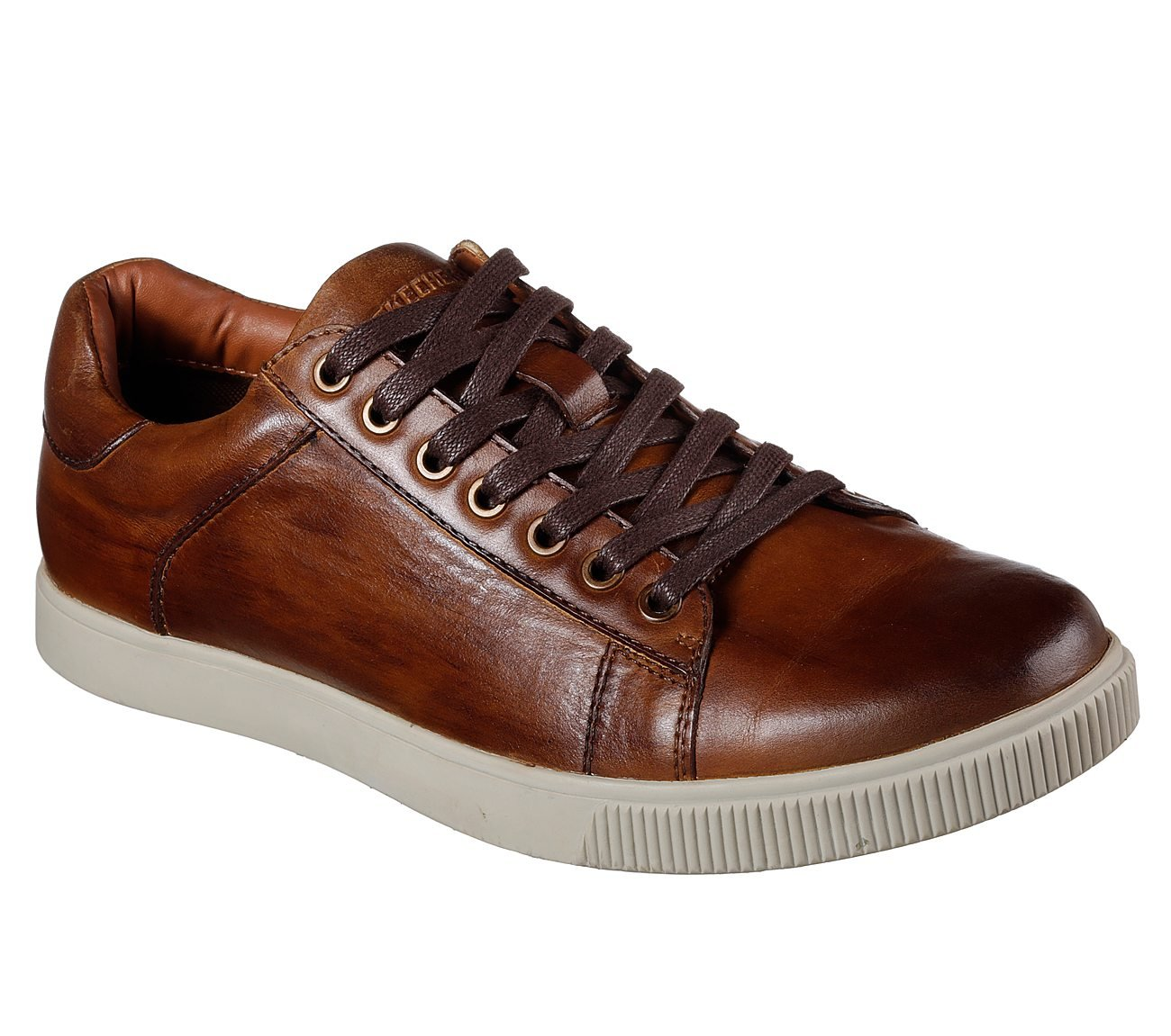 Skechers Men's Lifestyle 65323 Low Profile Leather Lace up, Tan - 12