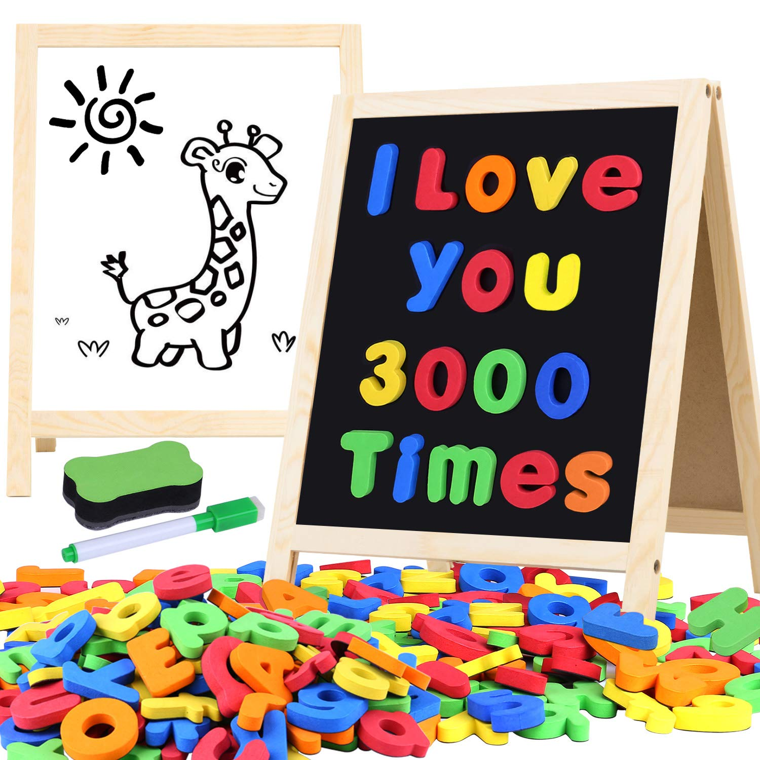 Giftinthebox Magnetic Letters and Numbers for Toddlers with Easels, 133 Pcs ABC Alphabets Magnets and Dry Erase Magnetic Double-Side Board, Kids Educational Classroom Set Preschool Learning Toys