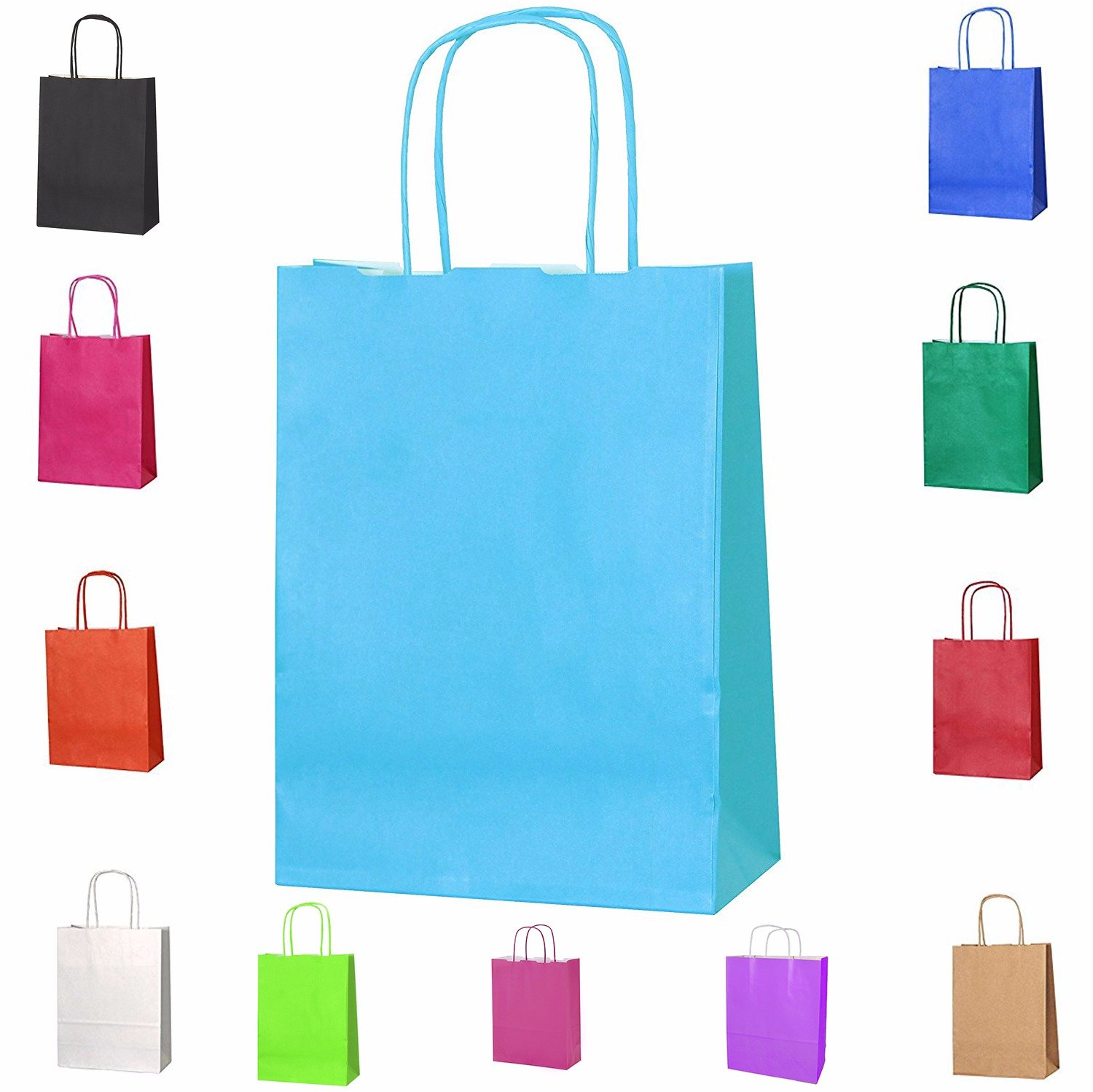 20 Brown SMALL L 31 Cm x W 24 Cm x D 11 Cm Twist Handle Paper Party Gift Bags Kraft Bags - 3 Sizes, Choose Your Colour and Size Smith
