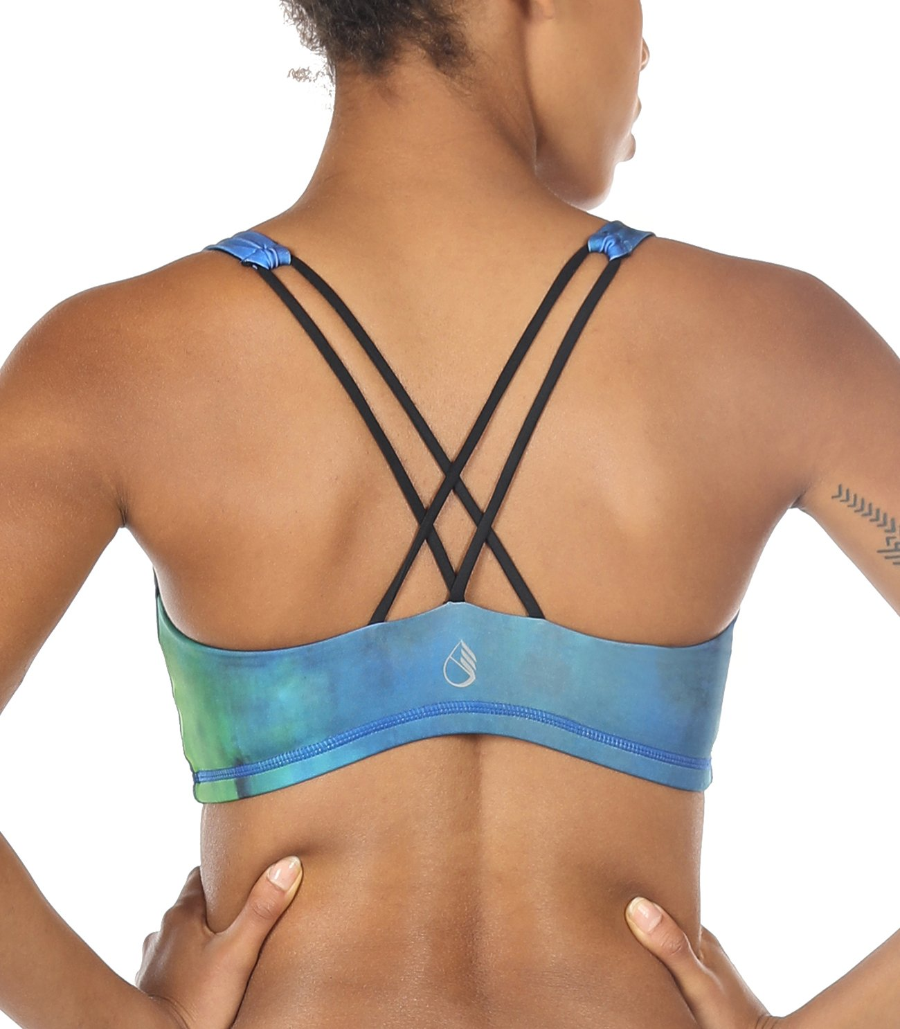 icyzone Sports Bra for Women - Women's Workout Clothes, Strappy Sports Bra, Yoga Tops, Exercise Tops (S, Aurora)