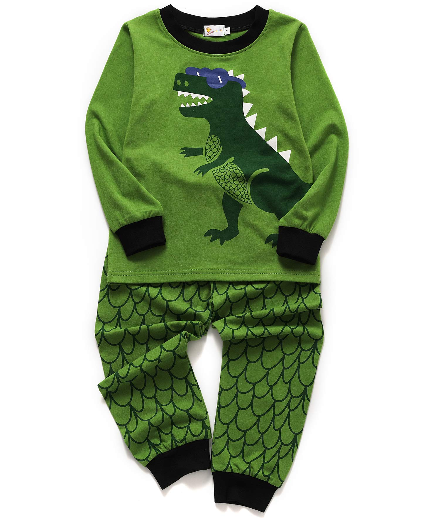 Tecrok Toddler Boys Cotton Pjs Cute Dinosaur Pajama Set Cartoon Sleepwear