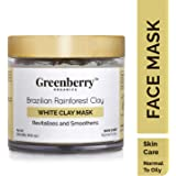 Greenberry Organics Brazilian Rainforest White Clay Mask | Revitalises and Smoothens | Normal to Oily Skin (100 GMS)